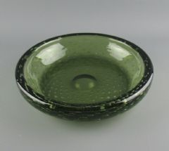 Large Vintage Whitefriars Glass Controlled Bubble  Bowl 9099 Sea Green 25.5cm
